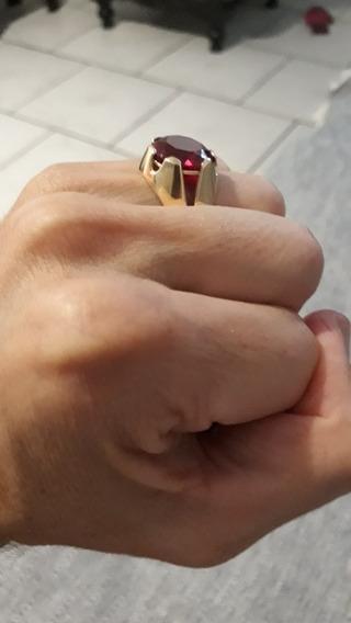 Anel De Ouro 18k 750 Com Rubi