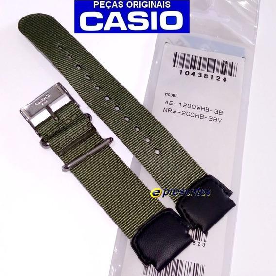 Pulseira Casio Ae-1200whb Mrw-200nylon Couro Verde Original
