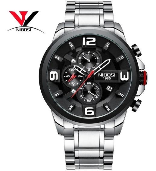 Relógio Masculino Nibosi 2336 Original Prata Com Preto
