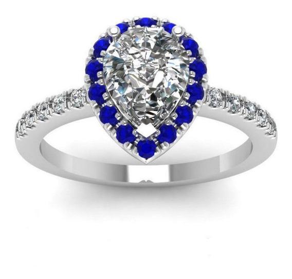 Anel Prata Feminino Solitário Coração Cristal Safira 571
