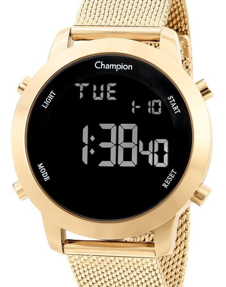 Relógio Digital Champion Feminino Dourado Pulseira Mesh
