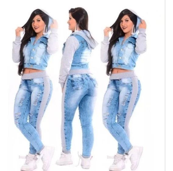 Conjunto Jeans Feminino Blusa De Frio E Calça Com Moletom