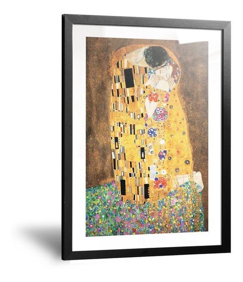 Cuadro Lamina El Beso Gustav Klimt Marco Y Vidrio De 35x50cm