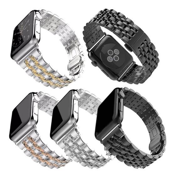 Pulseira Aço Inox 7 Bandas P/ Apple Watch 38 Ao 44mm + Ajust