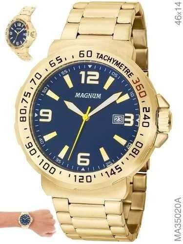 Relógio Magnum Masculino Ma35020a Original Dourado Analógico