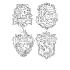 Vetor Emblemas Das Casas De Hogwarts Para Corte A Laser