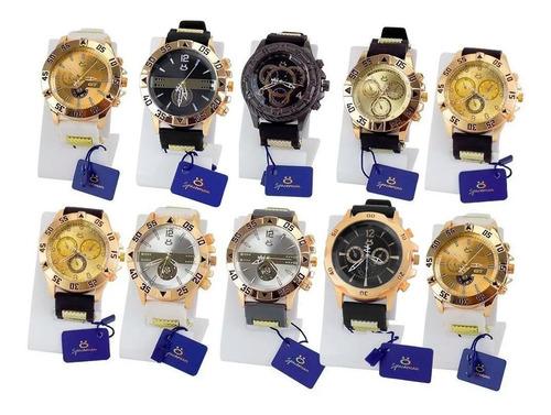 Kit Com 10 Relógio Masculino Original Prata Garantia Atacado