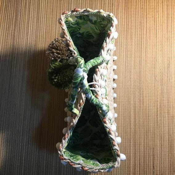 Bolsa De Palha Personalizada Tam. M - Tons De Verde