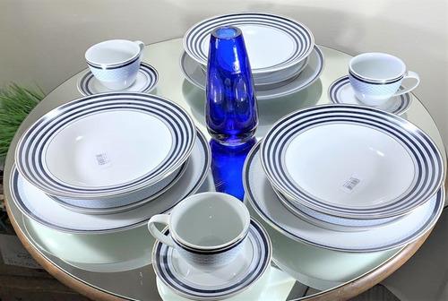 Imagem 1 de 7 de Jogo De Jantar E Chá Porcelana 30 Peças Azul E Prata
