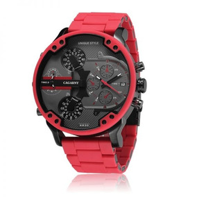 Relógio Masculino Cargany Luxo Grande 2 Maquinas E Data