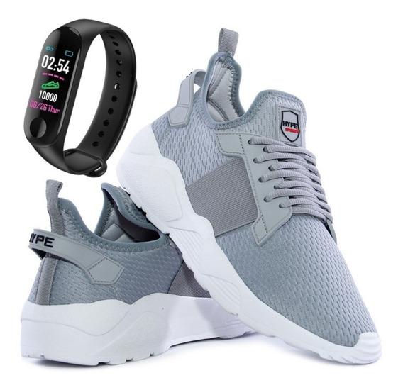Tênis Caminhada Corrida Unissex Conforto Super Leve Relógio