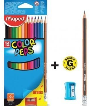 Lapices Pinturitas Maped De Color X 12 Largos Color Peps