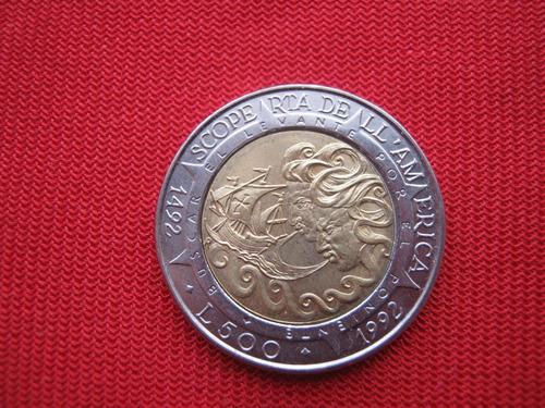 Imagen 1 de 2 de San Marino 500 Lira 1992 500 Años Del Descubrimiento America