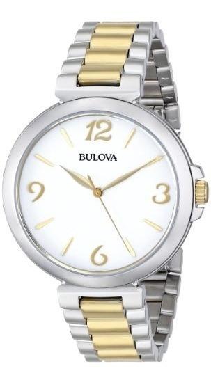 Relogio Bulova Feminino 98l194 Misto Prata Dourado