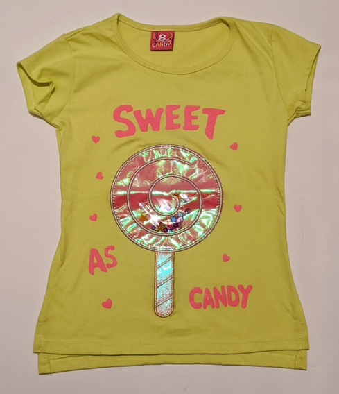 Remera Con Lentejuelas Y Relieve Nena Candy