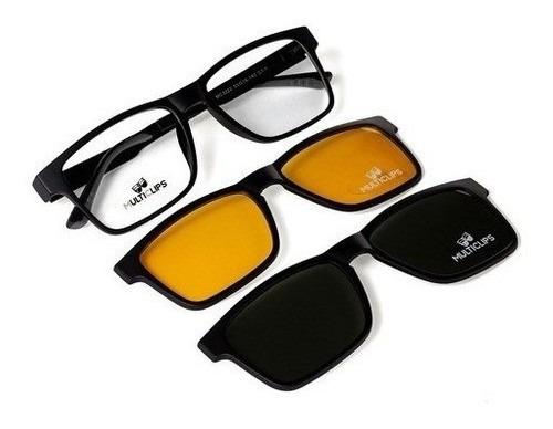 Imagem 1 de 6 de Armação De Óculos Para Grau Com Clip On Solar 3 Em 1 Uva Uvb