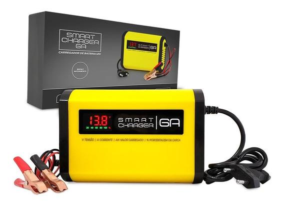 Carregador De Bateria Moto Carro 12v 6a Smartcharger Inteligente - Não Precisa Desligar! Display Digital Tensão Corrente