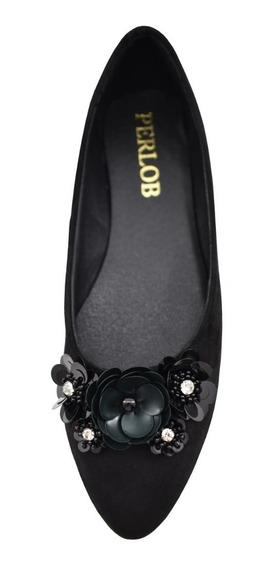 Zapatos De Mujer Flats Perlob Tulip Negra-forro Piel