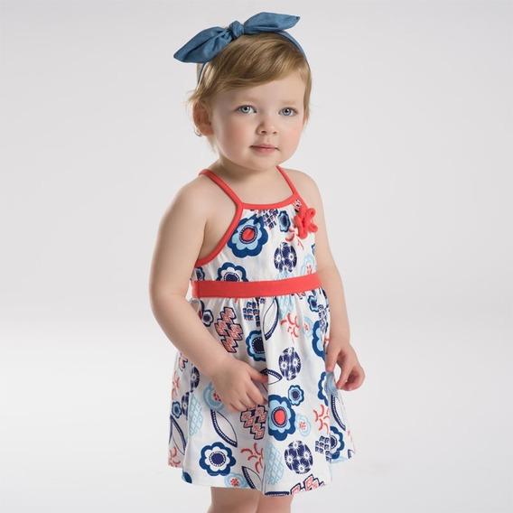 Vestido Bebé Niña Azul Naranja Algodón 1, 2, 3 Y 4 Años