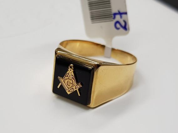 Anel Em Ouro 18k Com Símbolo Da Maçonaria