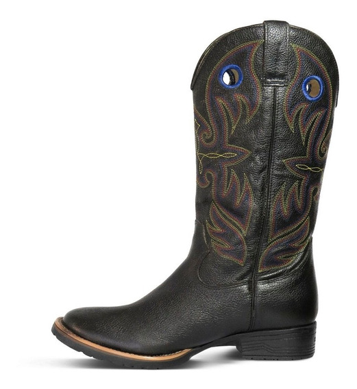 Bota Texana Masculina Couro Floater Preta - Silverado Botas