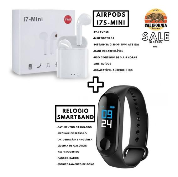Kit Headphone I7s-mini Bluetooth + Relógio Smartwatch M3