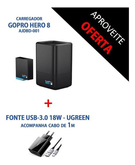 Carregador Duplo Bateria Gopro Hero 8 Black + Fonte Usb 3.0