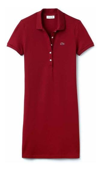 Vestido Lacoste Para Dama Tipo Polo Slim Fit Color Rojo
