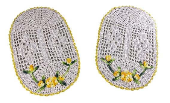 Par De Tapetes Grandes Em Crochê Oval Com Borda E Flor