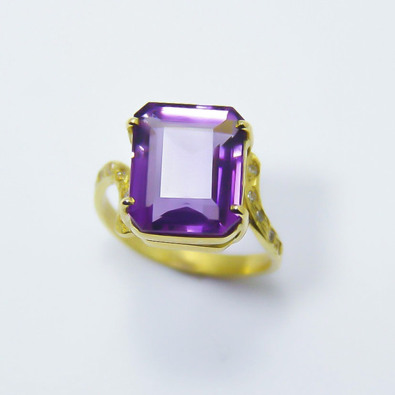 Anel Com Ametista Natural E Diamantes Ouro 18k-750