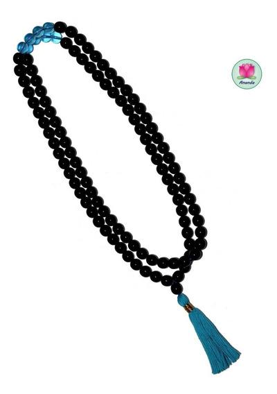 Rosario Budista, Japa Mala De Cristal Negro Brillante Y Azul