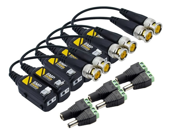 3 Par Balum Pasivo Transceptor Balun 8mpx 4k Plugs Energia