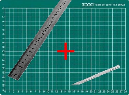 Imagen 1 de 5 de Base Tabla Tablero De Corte A4  30 X 22 Cm + Regla + Bisturí
