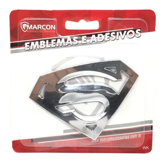 Emblema Super Man Cromado Adesivo Decorativo Automóveis