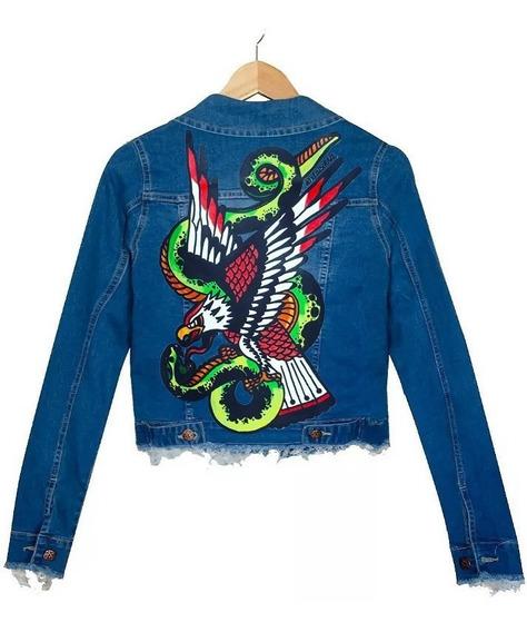 Campera Jean Azul Elastizado Mujer Serpiente Aguila Tradi