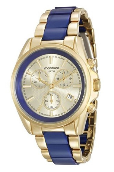 Relógio Mondaine Feminino Dourado E Azul 83332lpmvdb1