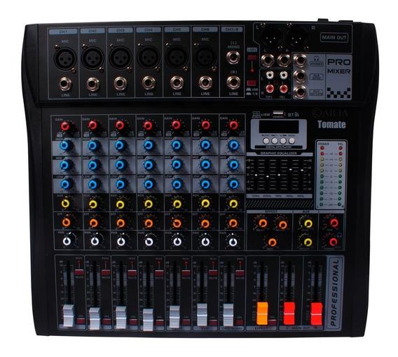 Mesa De Som 8 Canais Bluetooth Usb Mixer Mp3 Player Digital