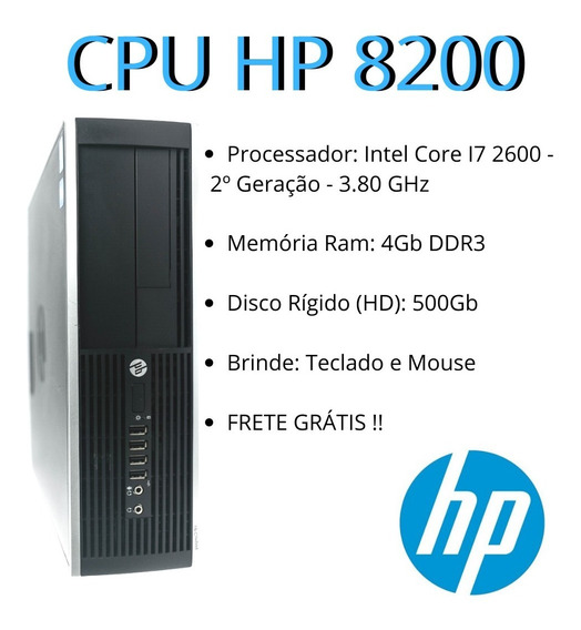 Pc/ Cpu Hp Elite 8200 Intel I7 2º Geração 4gb Ddr3 Hd 500