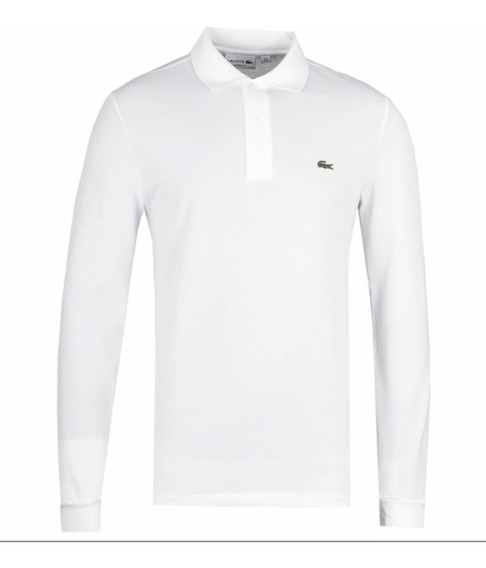 Polo Lacoste Manga Larga Classic Fit Color Blanco Original