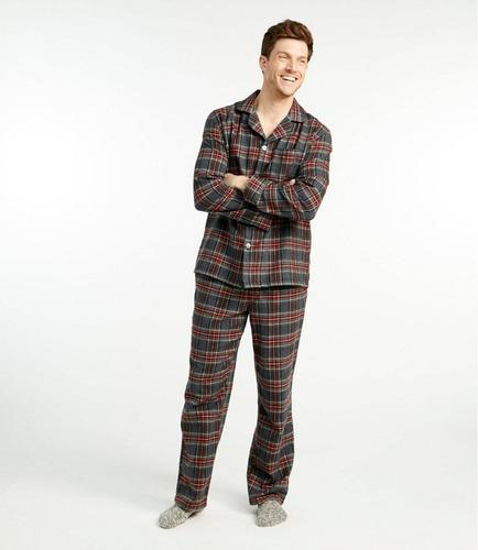 SLEEPHERO hombres Pijama de franela para adultos Conjunto de pantal/ón de pijama con camisa de algod/ón y manga larga con botones de Henley