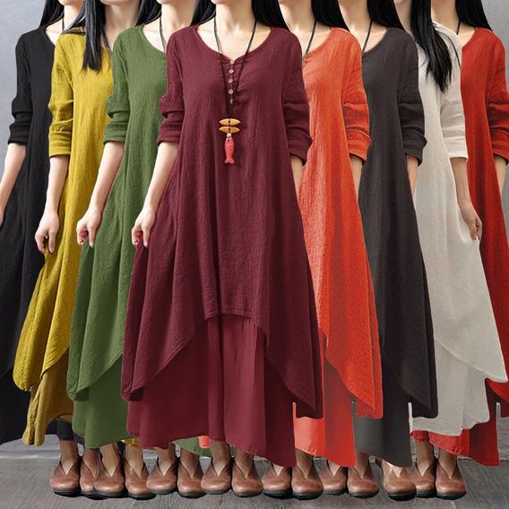 Novo Moda Mulheres Casual Solto Vestido Sólido Longo Manga