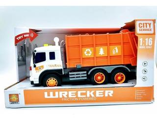 Caminhão Coleta Lixo Gari Brinquedo A Fricção C/ Luz E Som