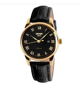 Relógio Masculino Skmei Original Preto De Luxo Couro