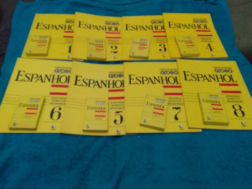 Cursos De Idiomas Globo, Espanhol, Kit Com 8 Livros+8 Fitas