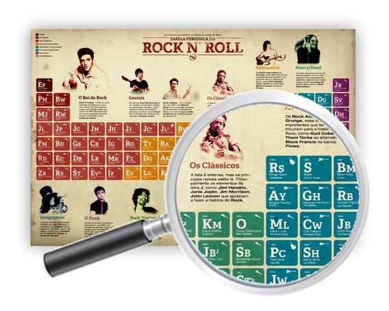 Poster Decorativo Tabela Periódica Do Rock 60x40 Cm