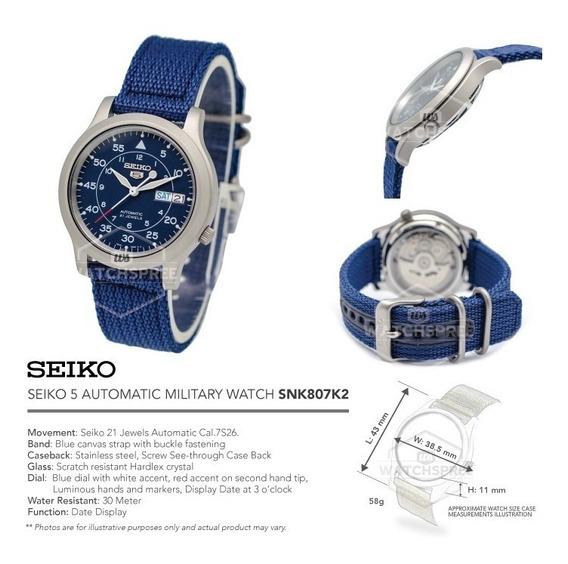 Seiko 5 Militar Azul, Com Película E Pulseira Adicional Nato