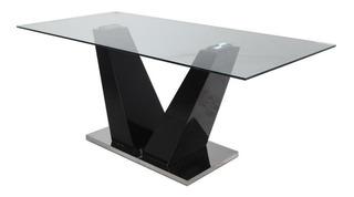 Mesa De Vidrio Living Comedor Blomma 150 X 90cm Moderna