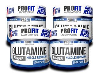 Kit 4 Glutamina 150g Aminoácidos - 100% Pura - Profit Labs