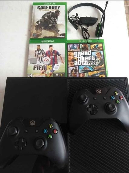 Xbox One +2 Controles +3 Jogos Ótimo Estado