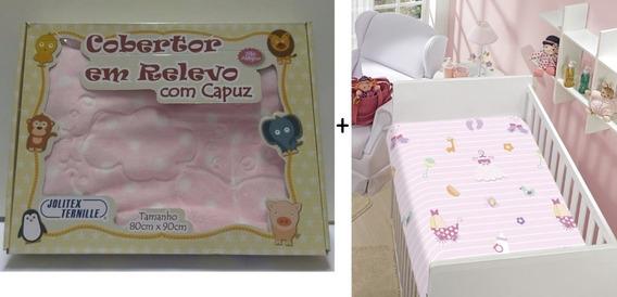Kit 2 Jolitex Cobertor Raschel Com Capuz + Manta Bebe Menina